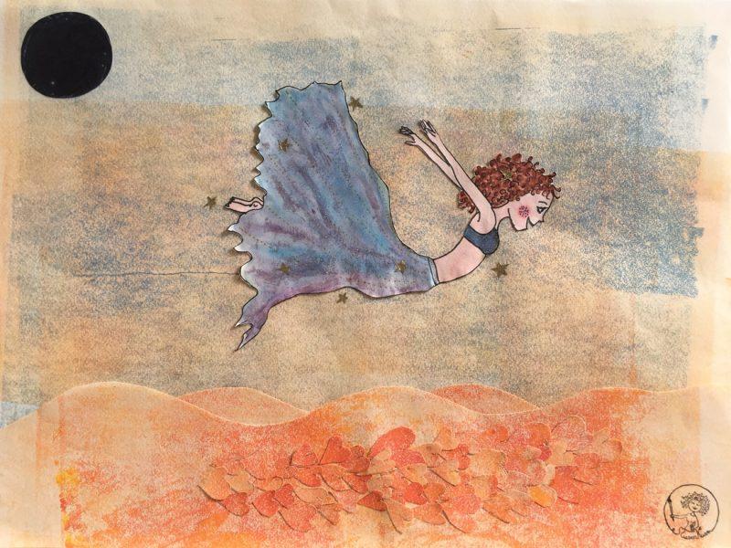 Junge Frau schwebt nach ihrem Sprung über dem Meer der Liebe, losgelöst und voller Vertrauen.